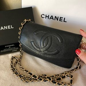 CHANEL Timeless Black Caviar CC Wallet On Chain